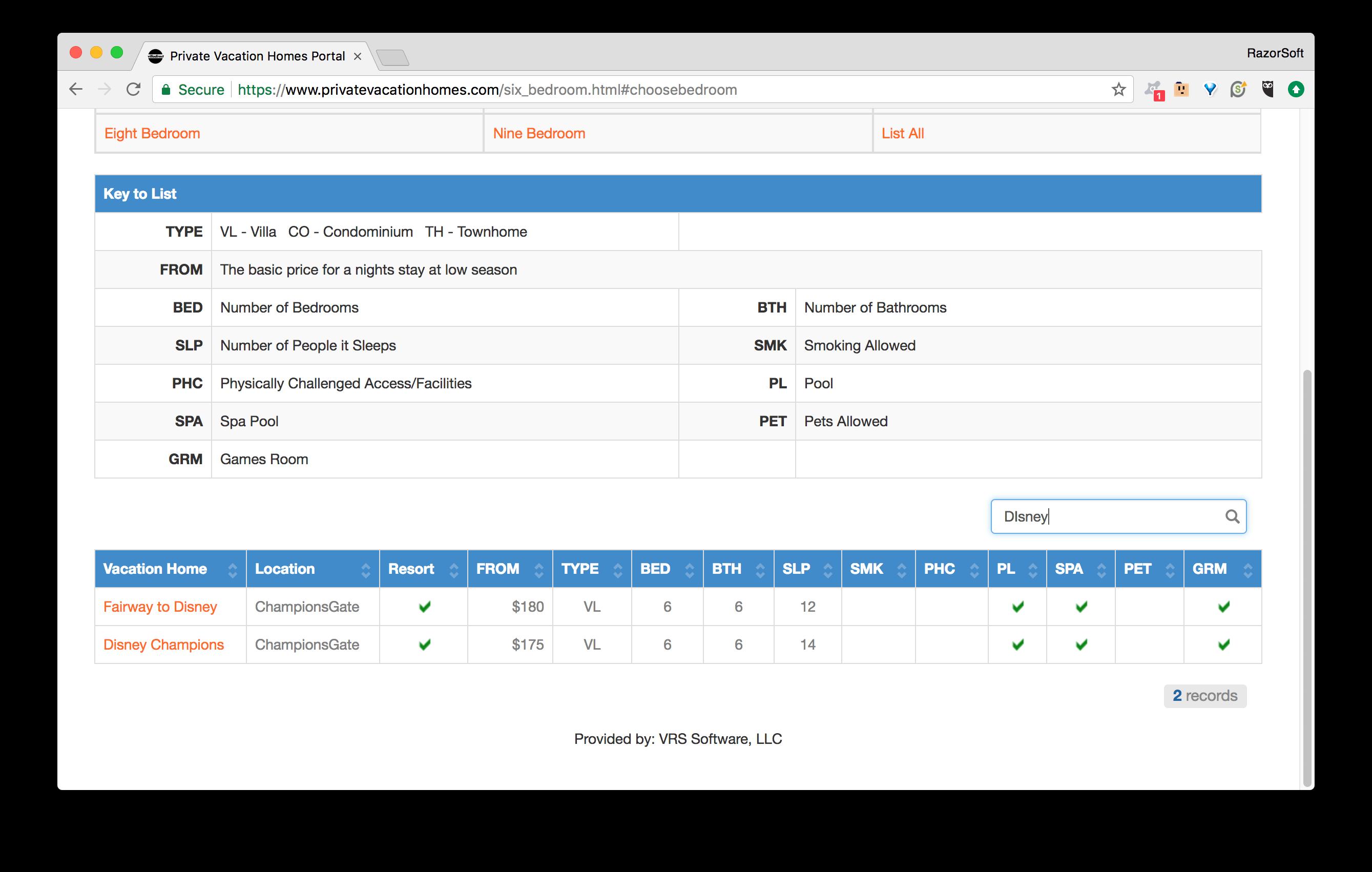 PrivateVacationHomes.com Portal Selection