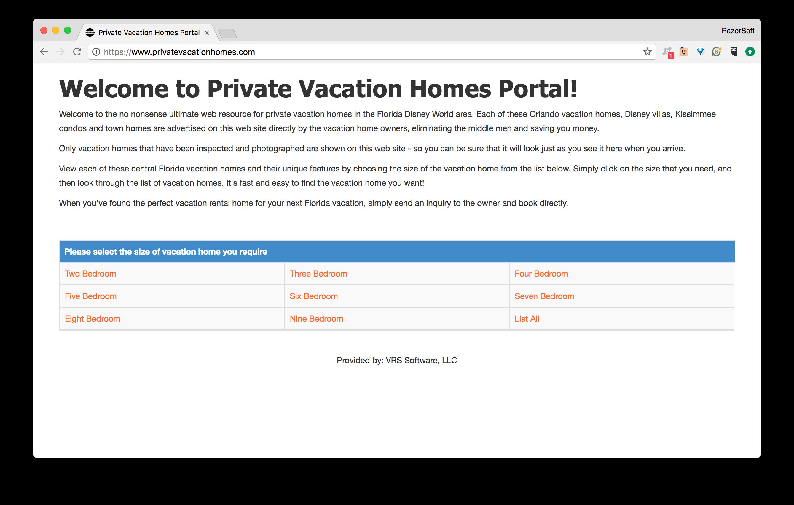 PrivateVacationHomes.com Portal