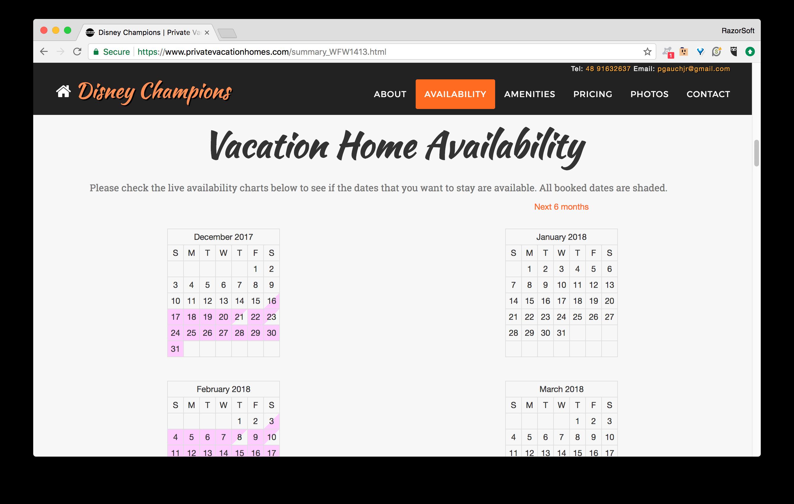 PrivateVacationHomes.com Availability